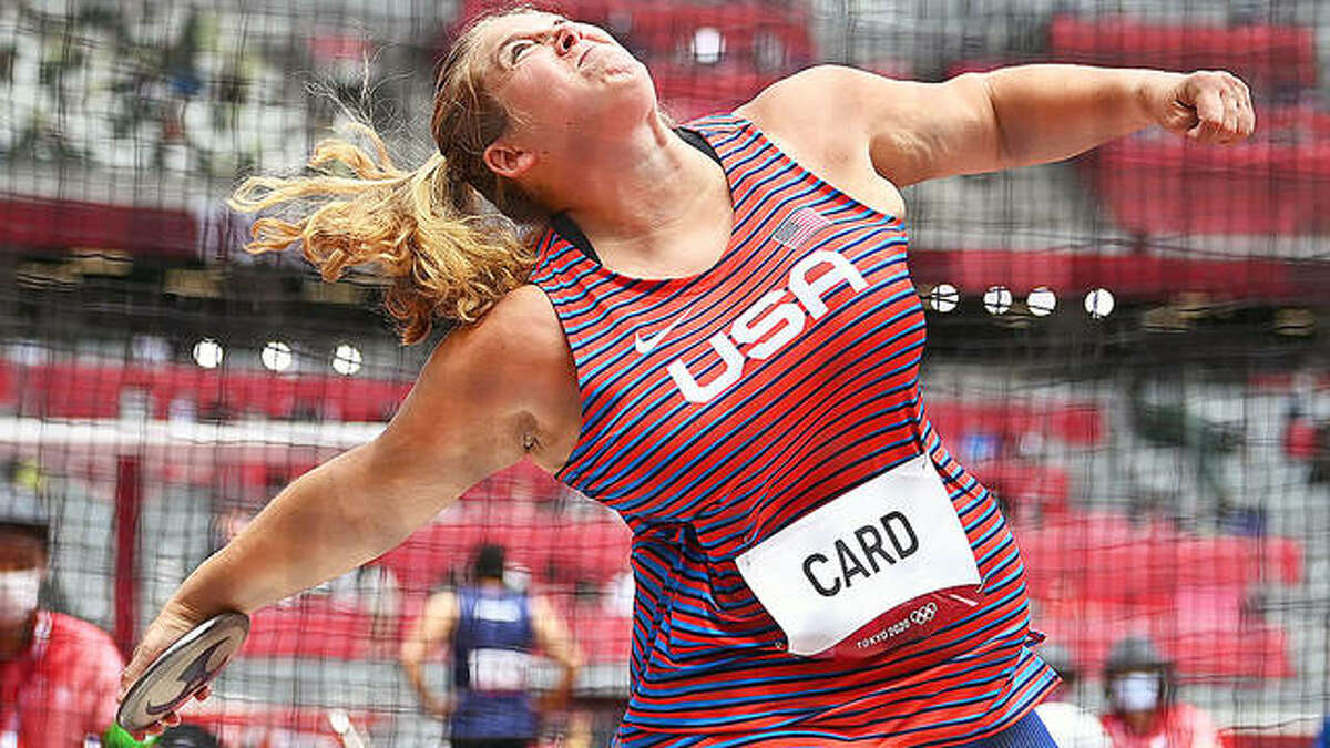Kelsey Card throws the discus during competition Friday at the Tokyo Summer Olympics. The Tokyo Games are the second consecutive Olympics for Card, a 2011 graduate of Carlinville High School, who went on the star at the University of Wisconsin.