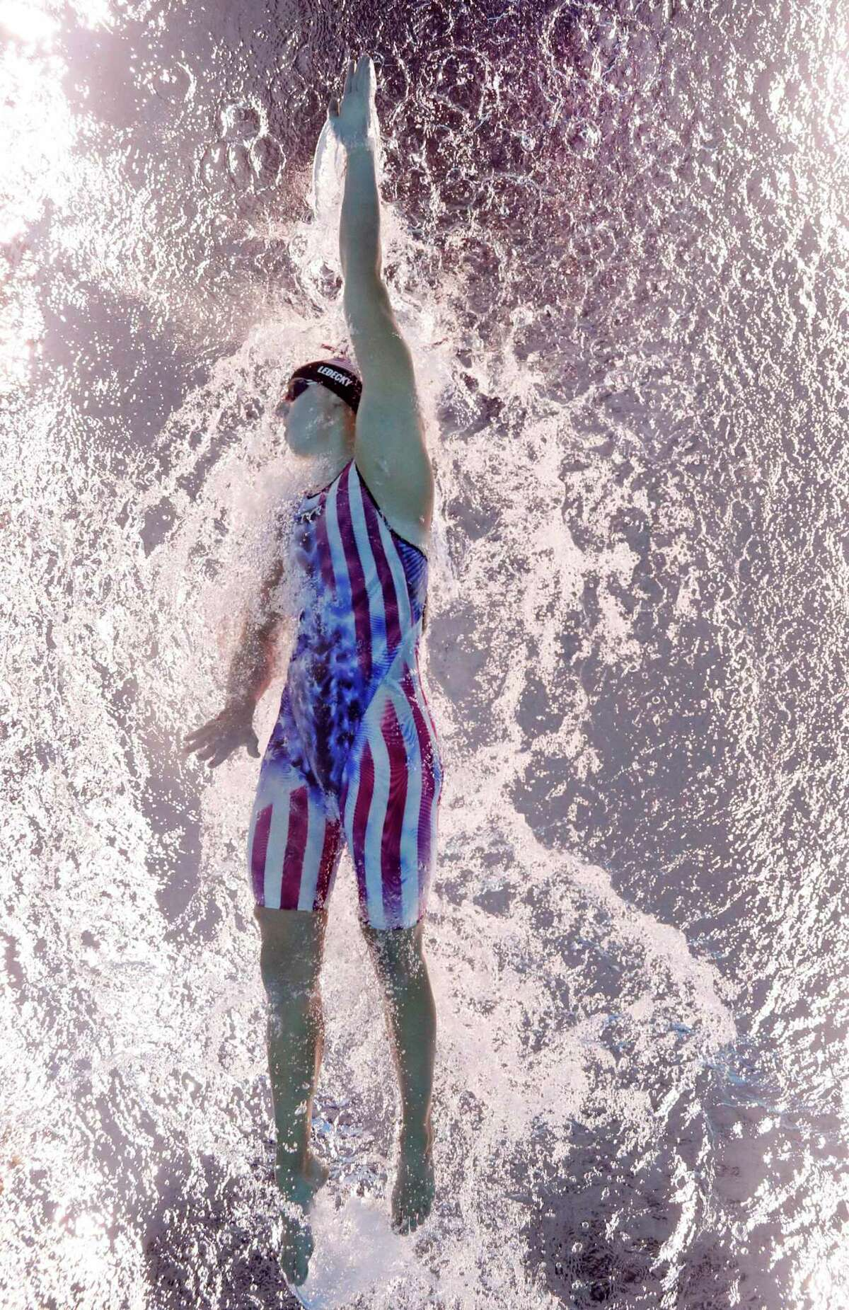 TOKYO, JAPAN - JULY 31: Katie Ledecky of Team United States competes in the Women's 800m Freestyle Final at Tokyo Aquatics Centre on July 31, 2021 in Tokyo, Japan. (Photo by Tom Pennington/Getty Images)