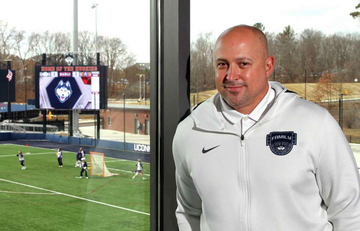 UConn Athletic Director David Benedict poses at the Joseph J. Morrone Stadium at Rizza Performance Center on the campus in Storrs in March.