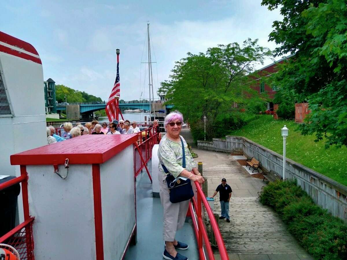 Thursday, after a year and a half hiatus, Mystery Trips were back on the docket at the senior center. Marcia Hedges (front) waits for the Ludington Princess to weigh anchor so the group can continue the day's adventure. (Courtesy photo)