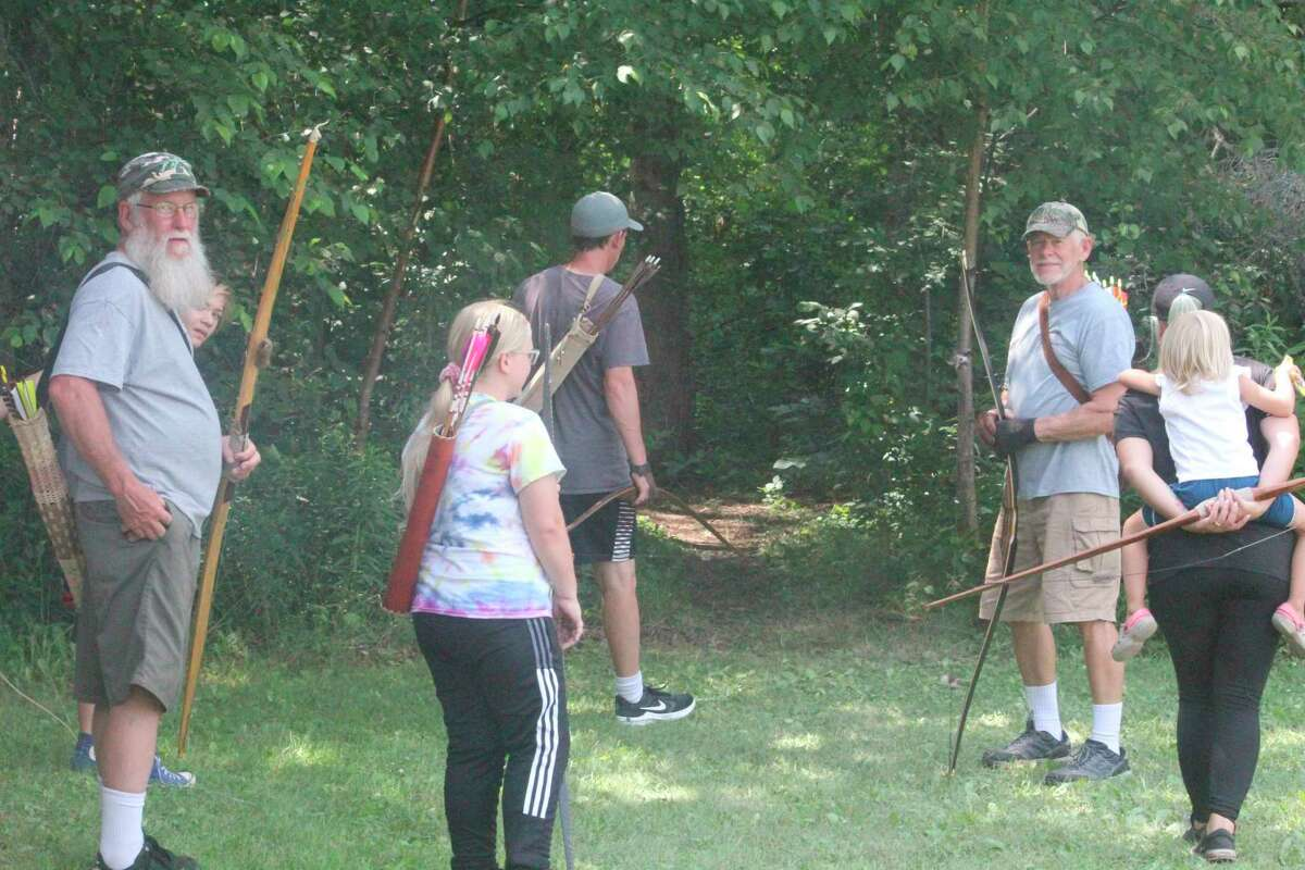 Morley area residents and their guests get ready to partake in the Barryton Stick Bow Shoot earlier this month. (Pioneer photo/John Raffel)