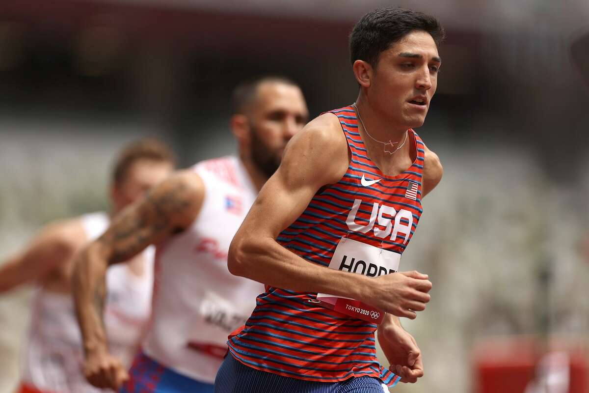 TOKYO, JAPAN - JULY 31: Bryce Hoppel of Team United States competes in round one of the Men's 800m heats on day eight of the Tokyo 2020 Olympic Games at Olympic Stadium on July 31, 2021 in Tokyo, Japan. (Photo by Cameron Spencer/Getty Images)