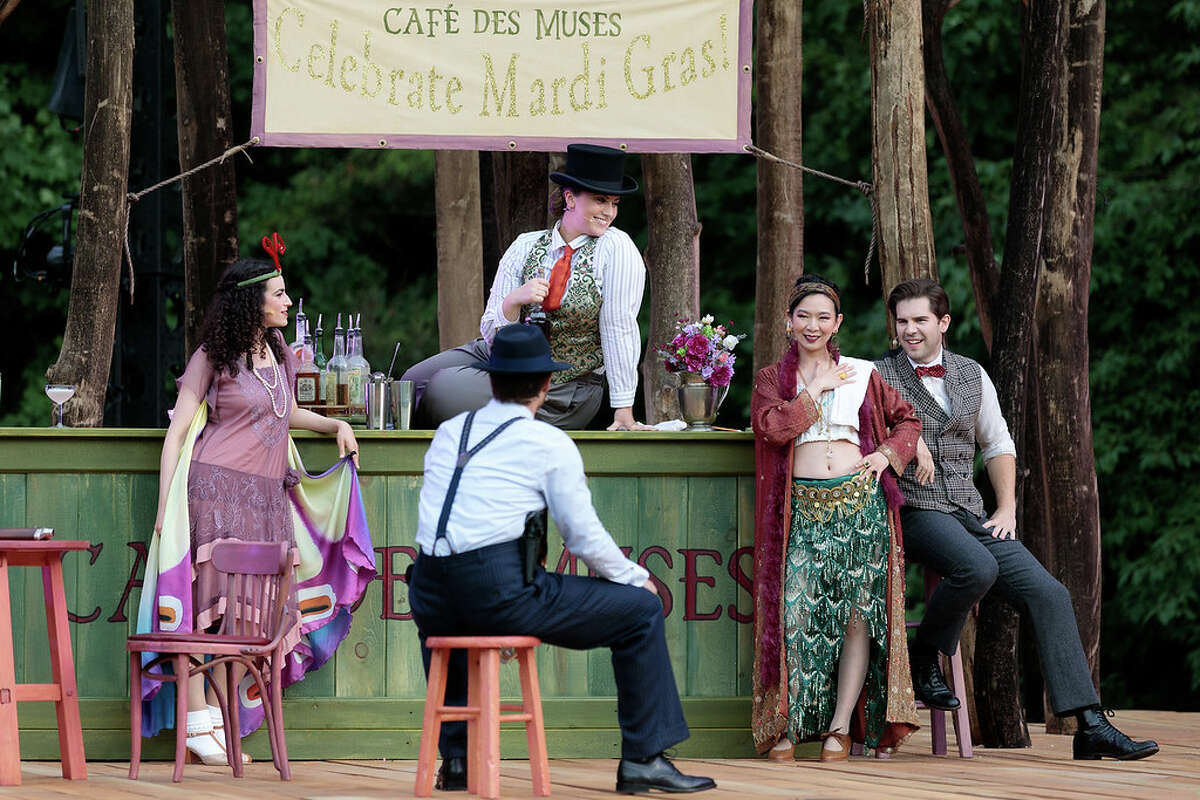 """Clockwise from top: Ariana Warren as Mastrilla, Helen Zhibing Huang as Guadalena, Peter Morgan as Don Pedro, and Aaron Jacob Keeney as a Notary, and Emily Misch as Berginella in The Glimmerglass Festival's 2021 production of """"Songbird."""" Photo: Karli Cadel/The Glimmerglass Festival"""