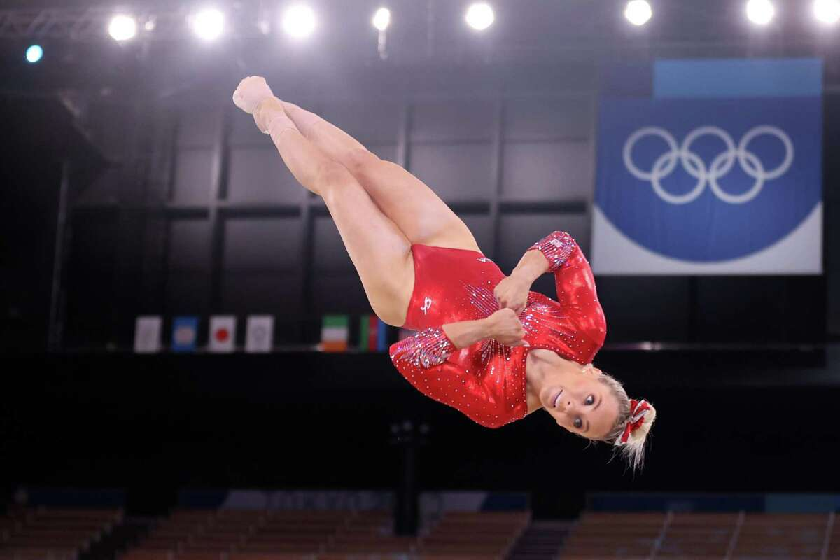 Mykayla Skinner, cometing in floor during team qualification, will be in the event final on Sunay after Simone Biles withdrew.