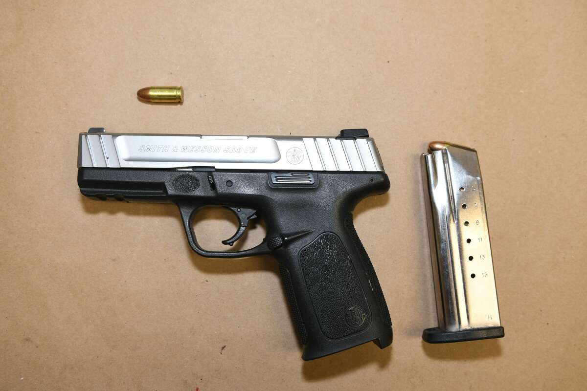 One of the guns found during a traffic stop on Lark Street in Albany Friday July 30, 2021.