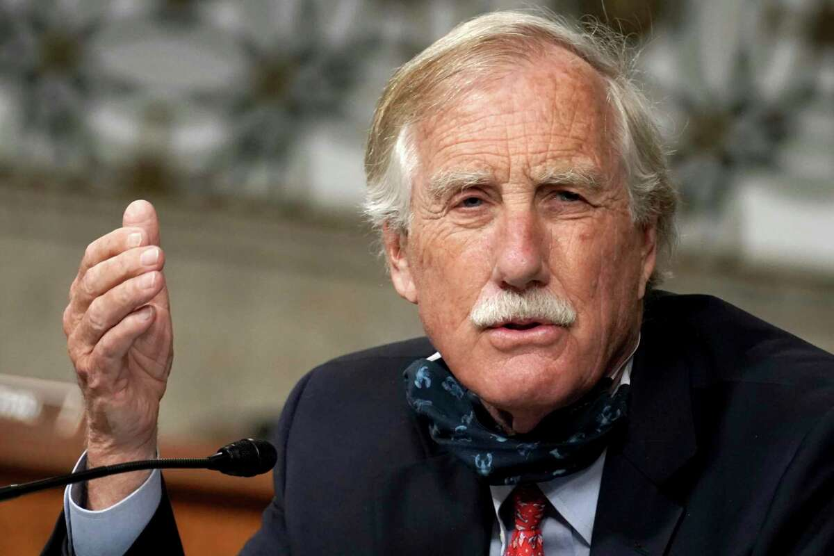 In this May 6, 2020 photo, Sen. Angus King, I-Maine, asks questions during a committee hearing.