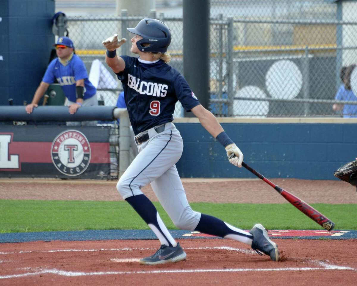 Drew Markle (9) of Tompkins bats during the first inning of a 6A Region III bi-district baseball playoff game between the Tompkins Falcons and the Elkins Knights on Saturday, May 8, 2021 at Tompkins HS, Katy, TX.