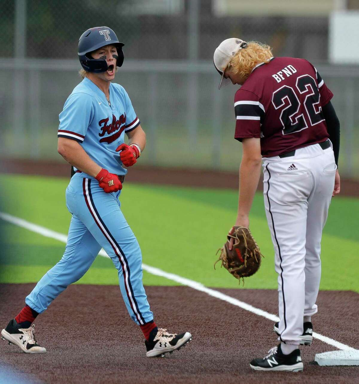 Will Stark #4 of Katy Tompkins reacts after hitting a single in the first inning during Game 3 of a Region II-6A high school baseball quarterfinal series at Tomball Memorial High School, Saturday, May 22, 2021, in Tomball.