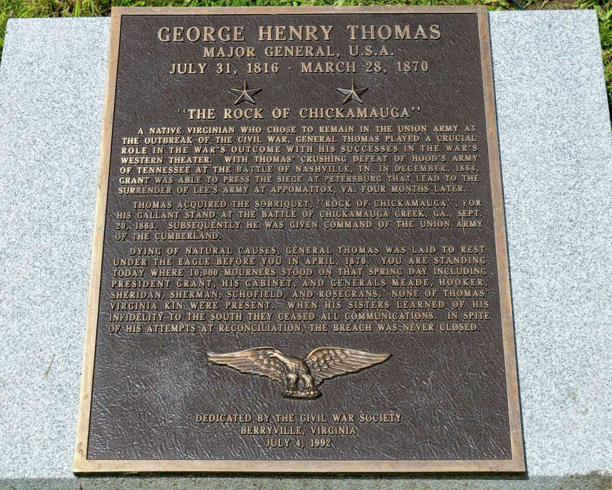 A plaque near the grave of Maj. Gen. George Thomas at Oakwood Cemetery in Troy, NY, on Saturday, July 31, 2021. (Jim Franco/Special to the Times Union)
