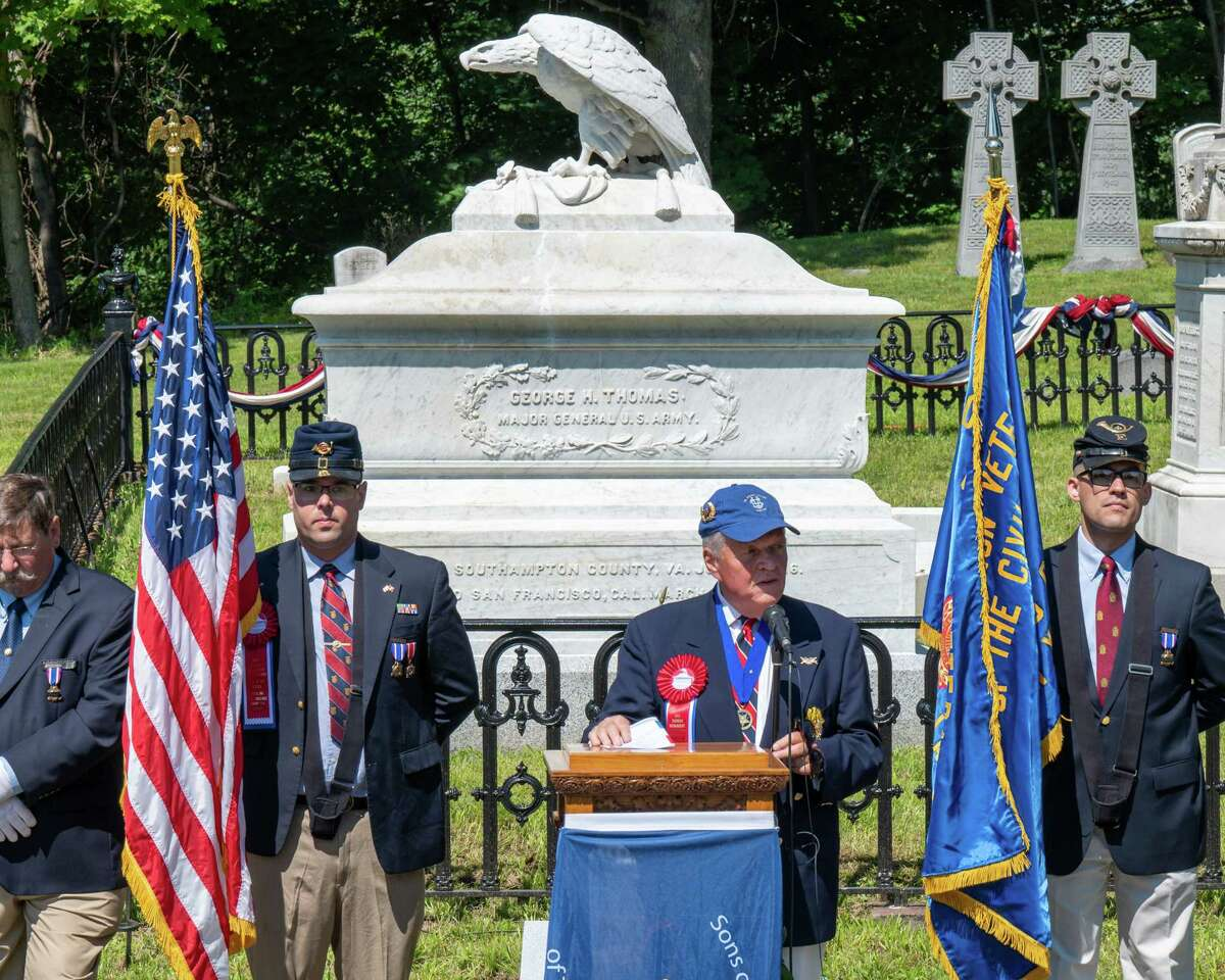Tom Maggs, chair of the Oakwood Cemetery Board of Directors and a member of the Sons of the Union Veterans of the Civil War, speaks during a rededication of the Maj. Gen. George Thomas grave and the Kellogg family plot at Oakwood Cemetery in Troy, NY, on Saturday, July 31, 2021. (Jim Franco/Special to the Times Union)