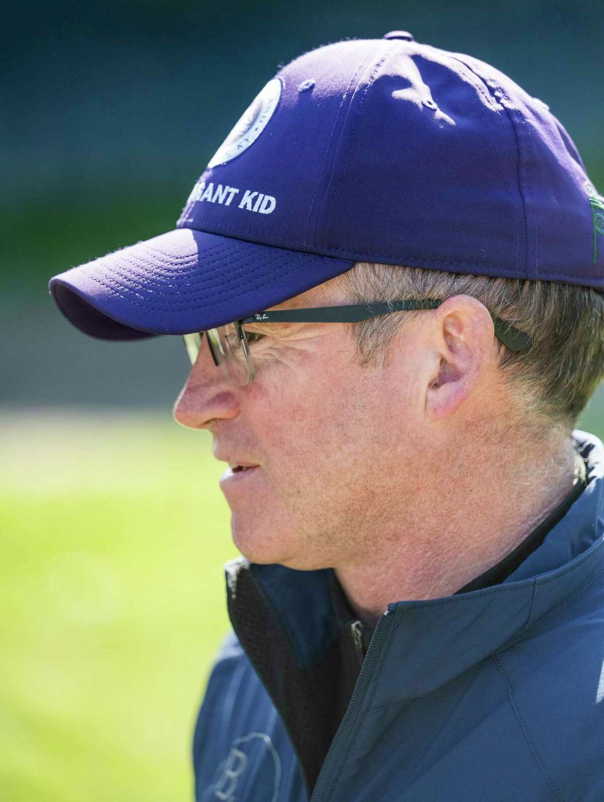 Trainer Brendan Walsh watched early Morning line favorite Maxfield make his final speed work for next week?•s Whitney Stakes and works at The Saratoga Race Course Saturday July.31, 2021 in Saratoga Springs, N.Y. Photo special to the Times Union by Skip Dickstein