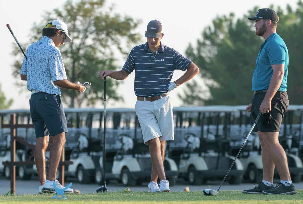 Saturday morning leaders, Cameron Lopez, Sebastain Cruz and Davis Seybert chat on the first tee 07/31/2021 during the second round of the Star Electric Midland Men's City Golf Championship at Hogan Park Golf Course. Tim Fischer/Reporter-Telegram