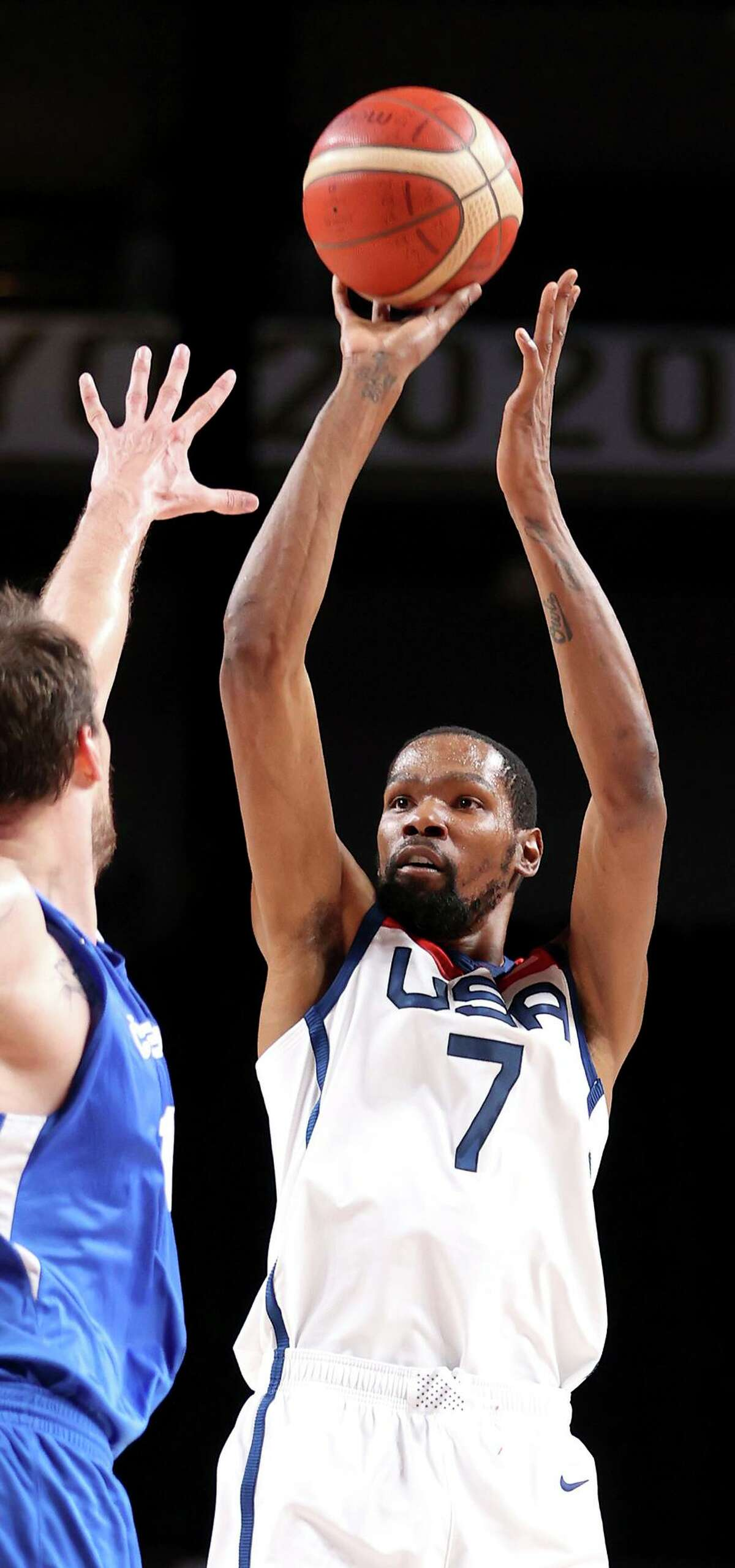 With 23 points Saturday, Kevin Durant became the top scorer in U.S. men's basketball Olympic history.