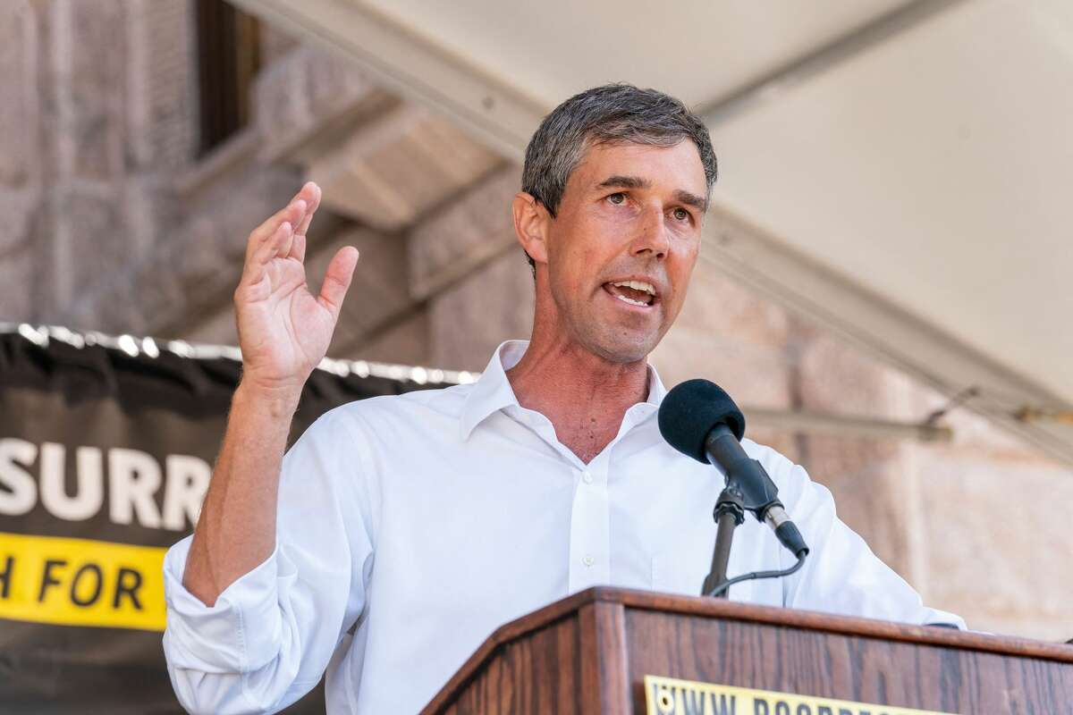 Beto O'Rourke speaks at the We Are the Moral Resurrection! Georgetown-to-Austin March for Democracy rally to support voting rights at the Texas State Capitol on July 31, 2021, in Austin, Texas. (Photo by SUZANNE CORDEIRO / AFP) (Photo by SUZANNE CORDEIRO/AFP via Getty Images)