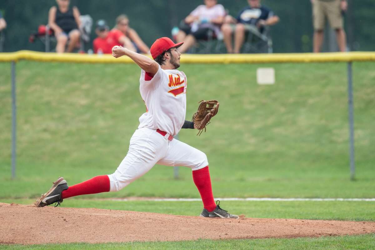 Berryhill Post 165's D.J. Thompson delivers a pitch against Gladwin Post 171 in the championship game of the American Legion Zone 4 tournament on July 24, 2021.