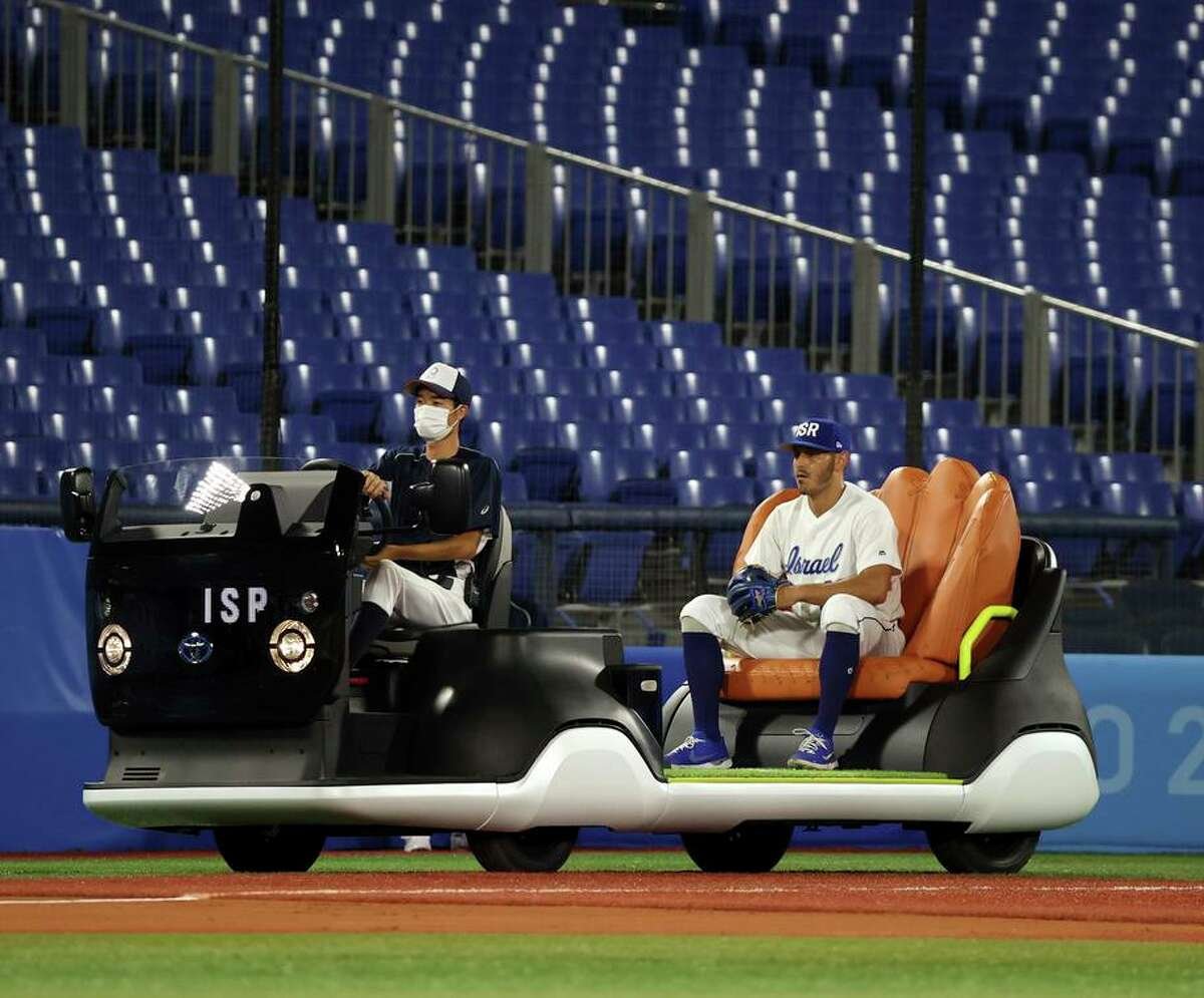 The bullpen cart being used at the Tokyo Olympics is challenging the Weinermobile's claim on vehicle supremacy.