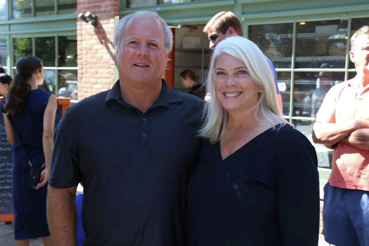 Darien First Selectman Jayme Stevenson and her husband John at the GOP's meet-and-greet event at Grove Street Plaza in Darien on Saturday morning, July 31, 2021.
