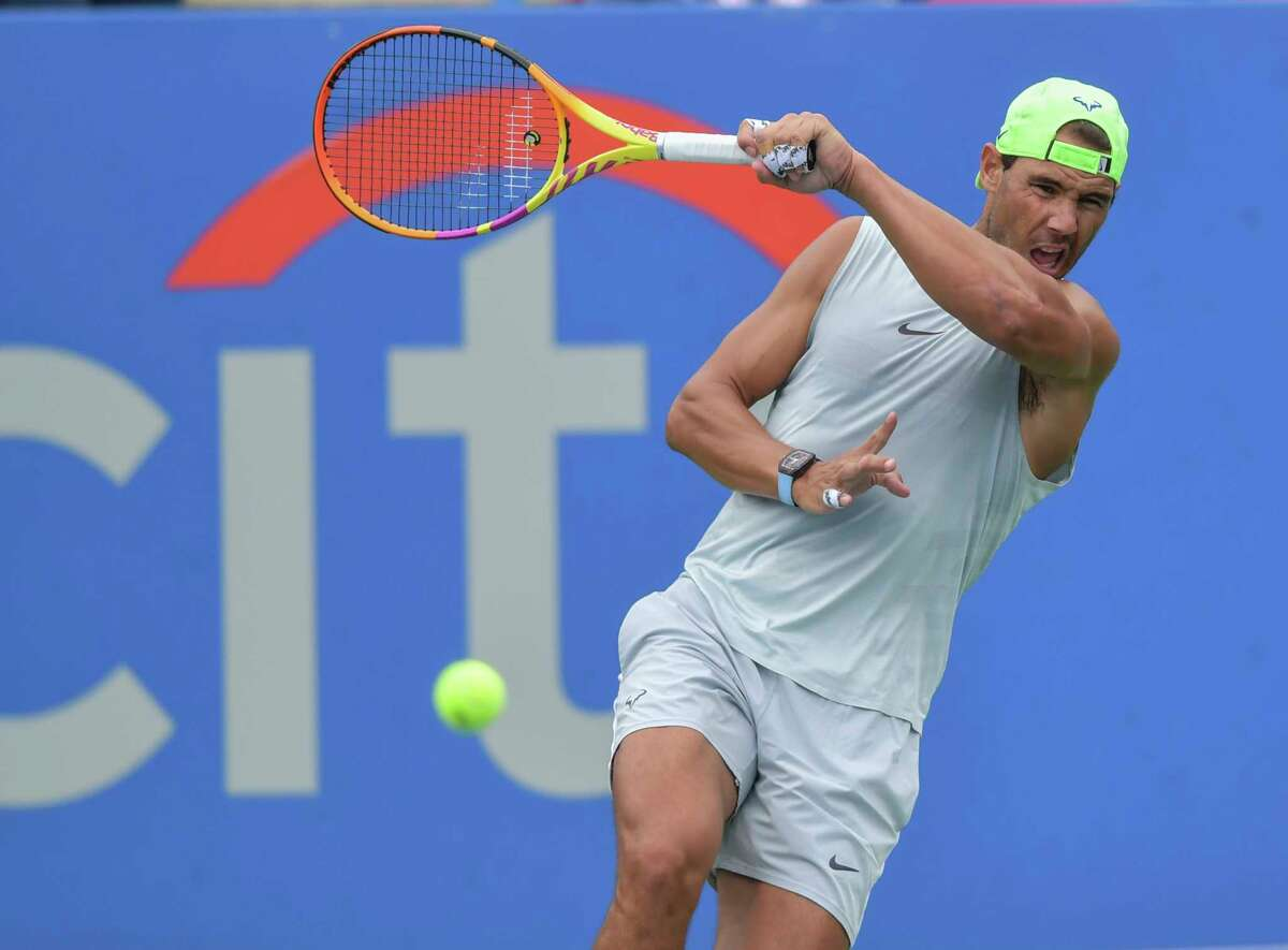 Rafael Nadal works on his game Saturday morning in preparation for the Citi Open at the Rock Creek Park Tennis Center.