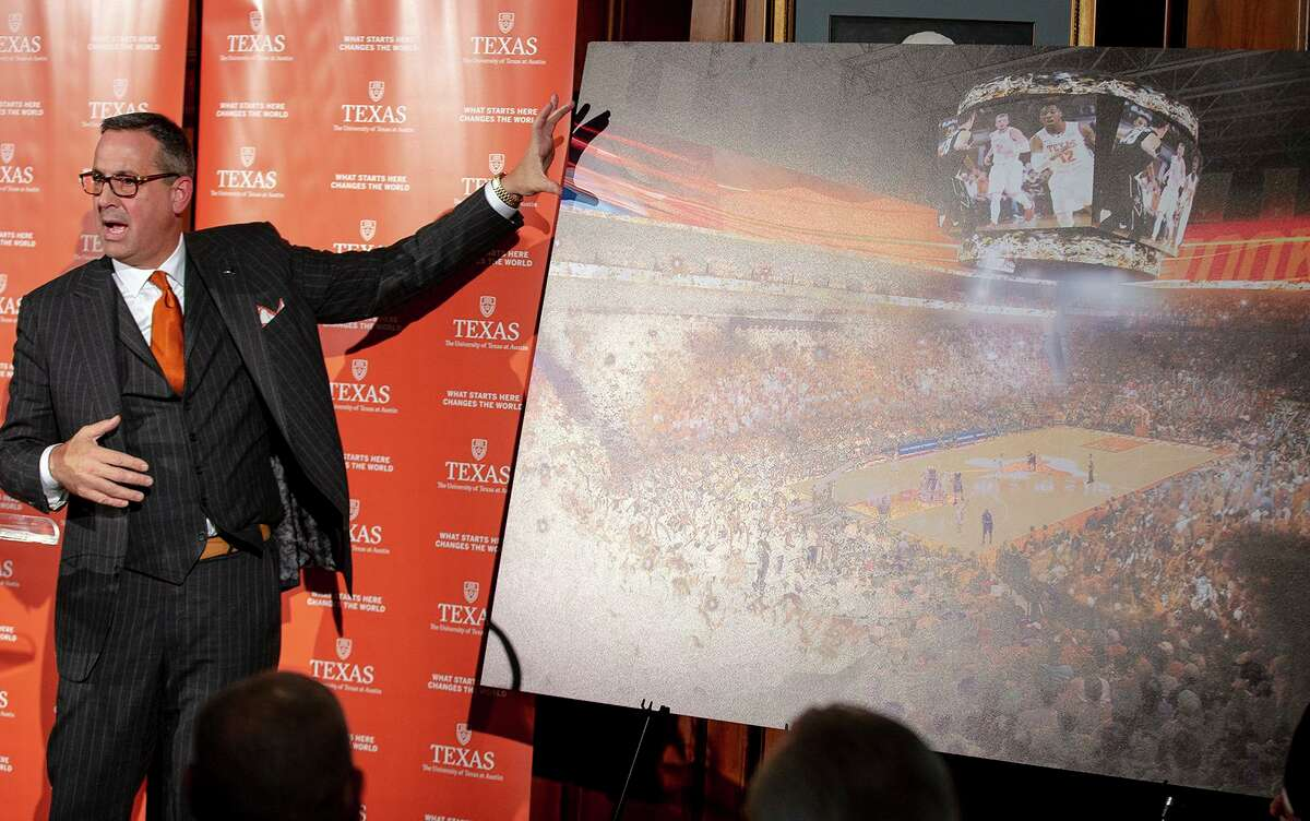 Texas athletic director Chris Del Conte, showing off plans for the school's new basketball arena, has said all the 'right things' in public about Big 12.