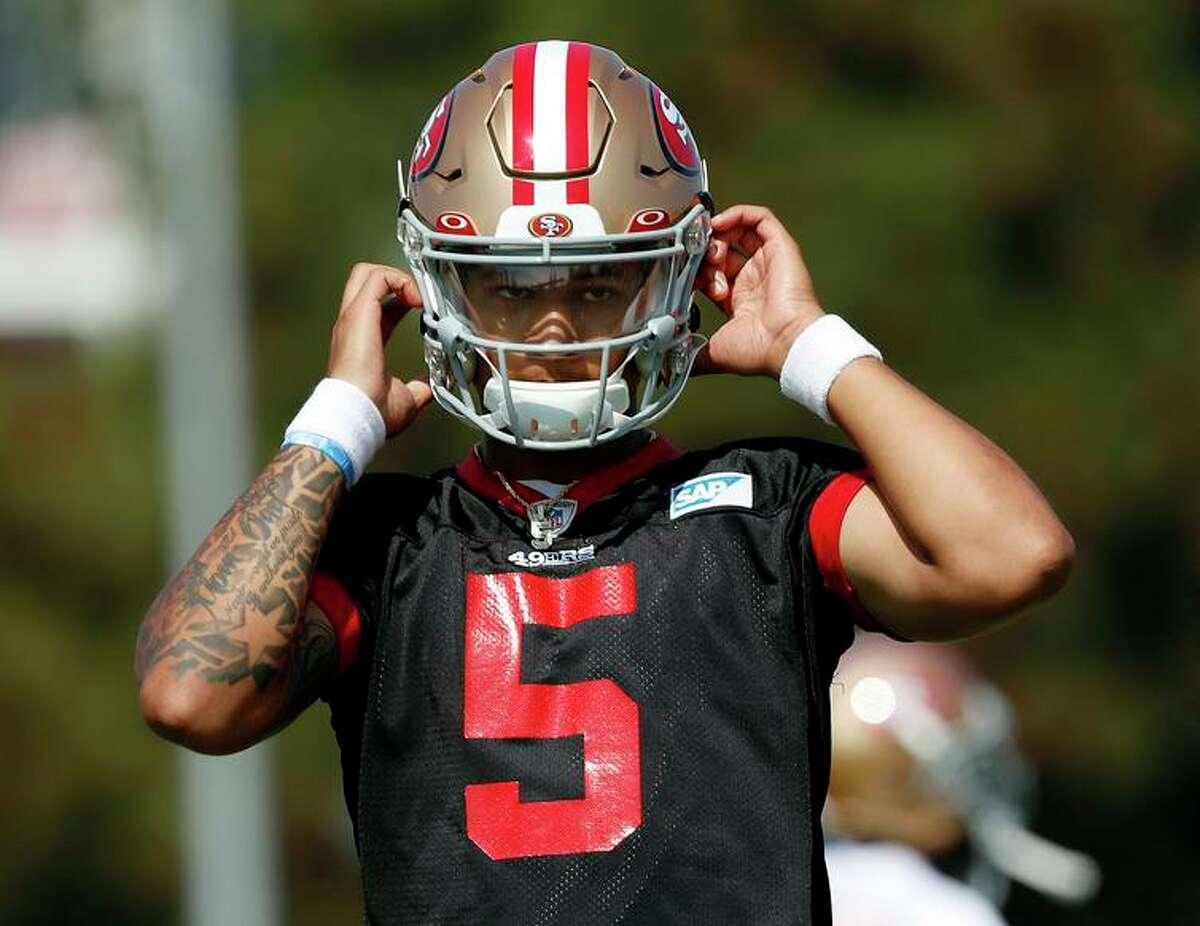 San Francisco 49ers quarterbacks Trey Lance attends NFL football training camp in Santa Clara, Calif., Saturday, July 31, 2021. (AP Photo/Josie Lepe)