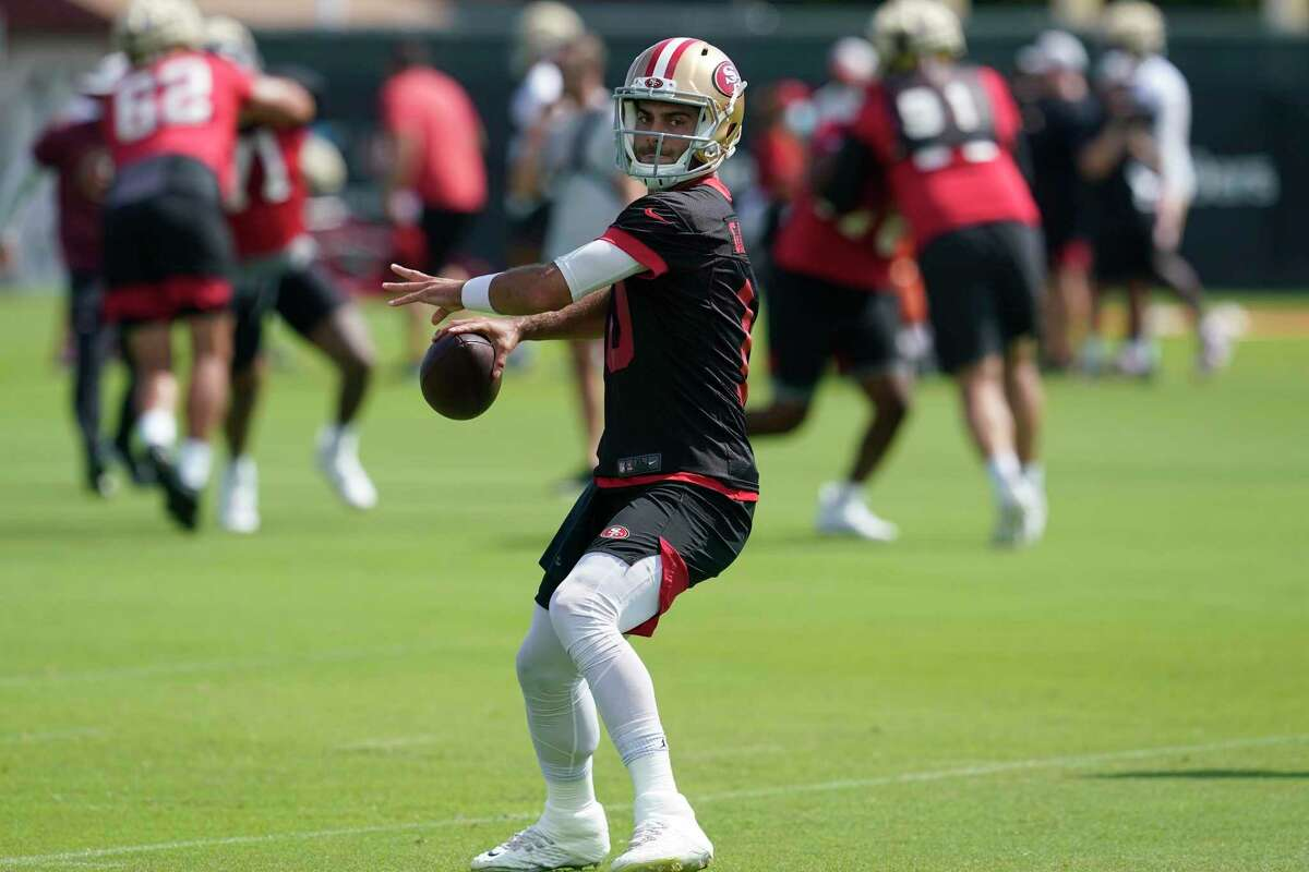 San Francisco 49ers quarterback Jimmy Garoppolo at NFL football training camp in Santa Clara, Calif., Thursday, July 29, 2021. (AP Photo/Jeff Chiu)