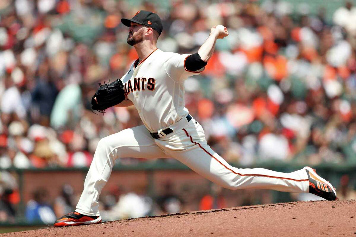 San Francisco Giants' Alex Wood pitches against Houston Astros in 1st inning during MLB game at Oracle Park in San Francisco, Calif., on Saturday, July 31, 2021.