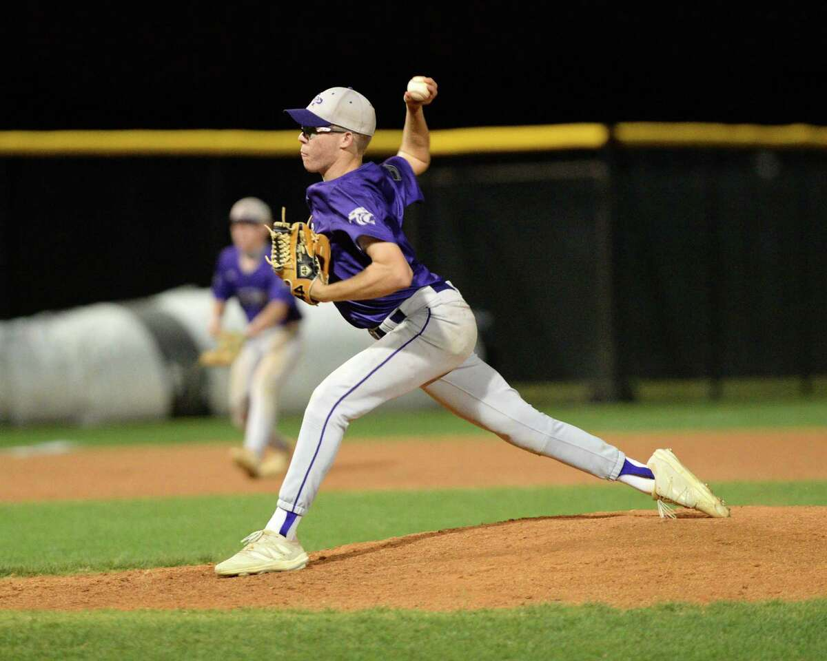 Hunter Nichols (7) of Ridge Point delivers a pitch during the fifth inning of a 6A Region III bi-district baseball playoff game between the Cinco Ranch Cougars and the Ridge Point Panthers on Friday, May 7, 2021 at Cinco Ranch HS, Katy, TX.