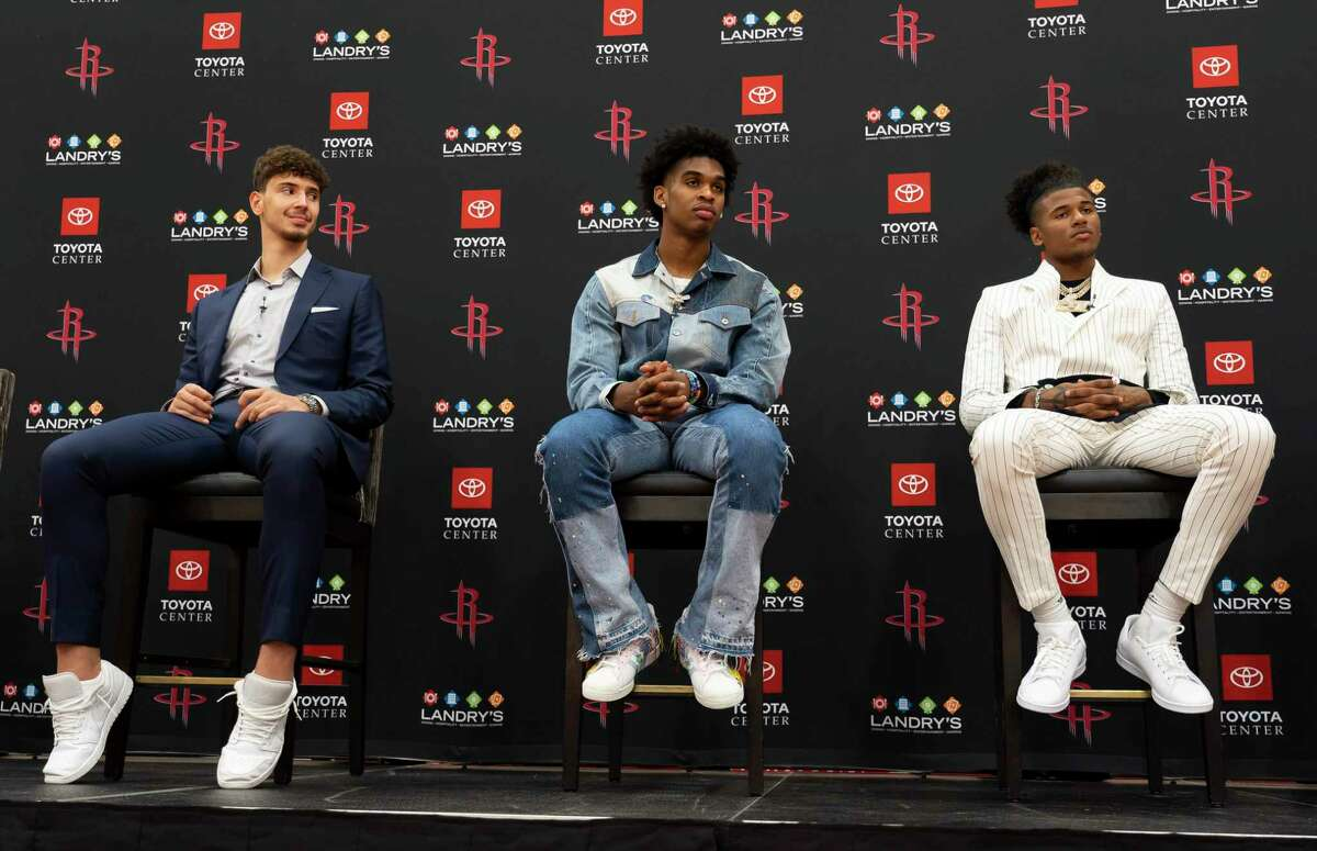 The Rockets draft picks, right to left, Jalen Green, Josh Christopher and Alperen Sengun during an introductory press conference for the players acquired in Thursday's NBA draft, Friday, July 30, 2021, at Toyota Center in Houston.