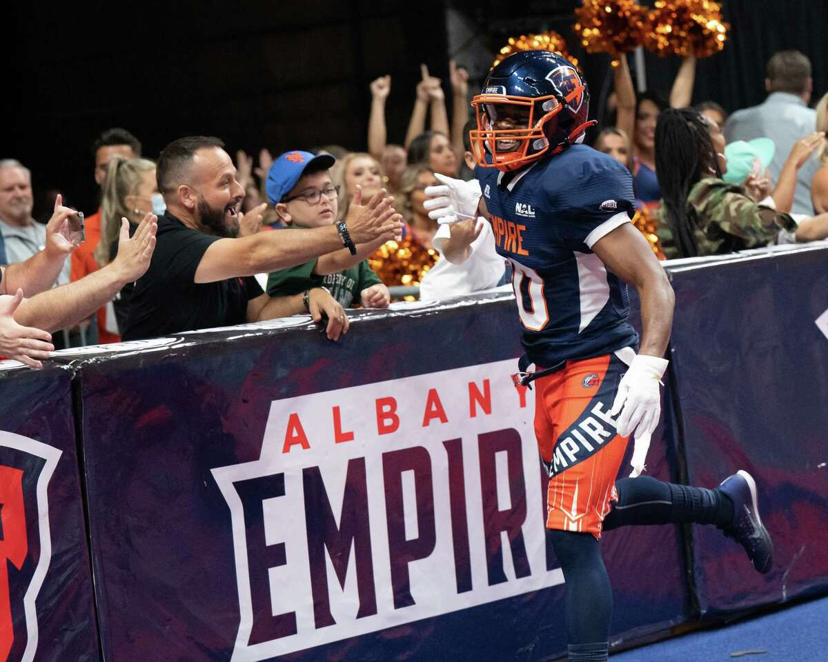 Albany Empire defensive back Varmah Sonie has some fun with the fans during a National Arena League game against Jacksonville at Times Union Center in Albany, N.Y., on Saturday, July 31, 2021. Sonie joined the team with two regular-season games to play.