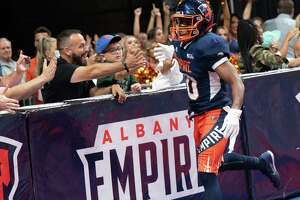 Albany Empire defensive back Varmah Sonnie has some fun with the fans during a National Arena League game against the Jacksonville Sharks at the Times Union Center in Albany, NY, on Saturday, July 31, 2021 (Jim Franco/Special to the Times Union)