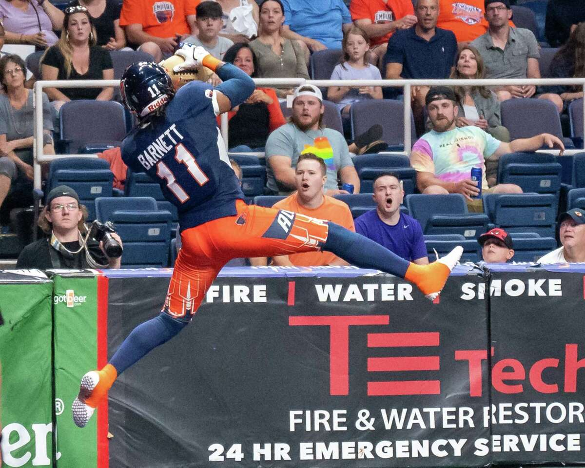 Albany Empire receiver Phillip Barnett makes a touchdown catch against the Jacksonville Sharks during a National Arena League game at the Times Union Center in Albany, NY, on Saturday, July 31, 2021 (Jim Franco/Special to the Times Union)