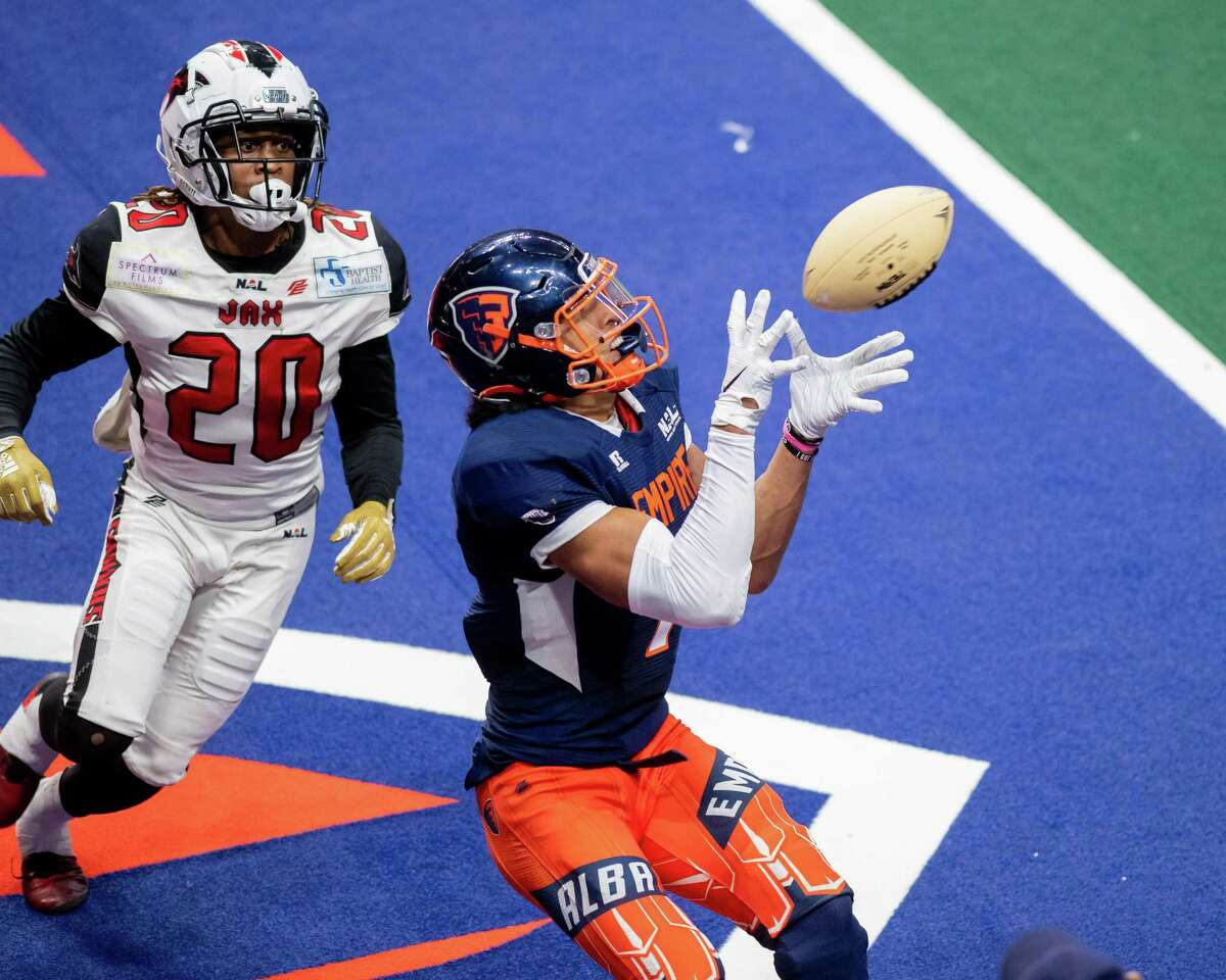Albany Empire receiver Malachi Jones catches a touchdown in front of a Jacksonville Sharks defender during a National Arena League game at the Times Union Center in Albany, NY, on Saturday, July 31, 2021 (Jim Franco/Special to the Times Union)