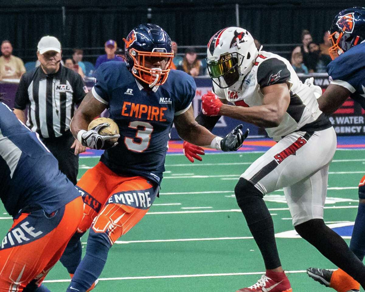 Albany Empire fullback Jeramie Richardson during a National Arena League game against the Jacksonville Sharks at the Times Union Center in Albany, NY, on Saturday, July 31, 2021 (Jim Franco/Special to the Times Union)