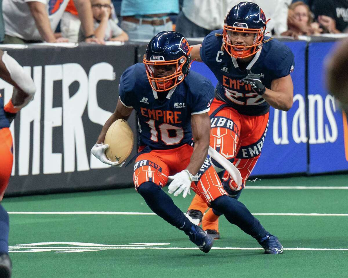 Albany Empire defensive back Varmah Sonie returns an interception against Jacksonville. Sonie has played two games with Albany, part of the revamping of the defense late in the season.