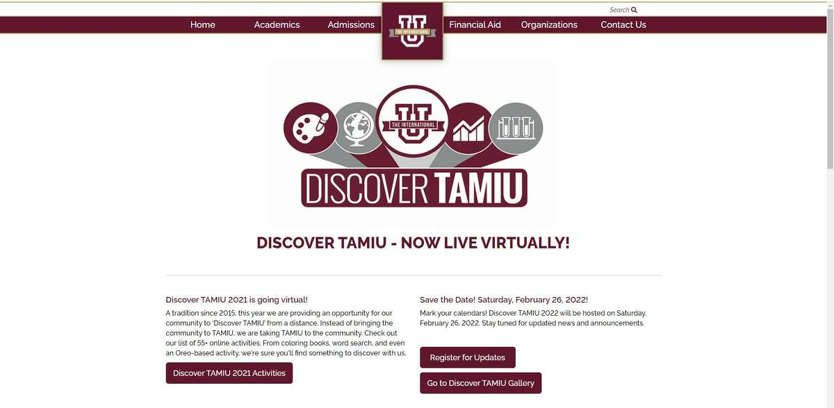 Shown is a screen cap of the Discover TAMIU website.
