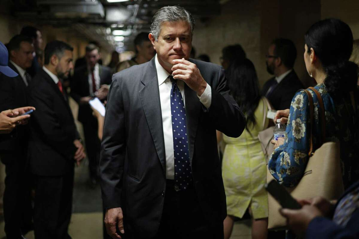 Texas State Rep. Richard Raymond (D-42) leaves after a meeting with U.S. Sen. Joe Manchin (D-WV) at the U.S. Capitol July 15, 2021 in Washington.
