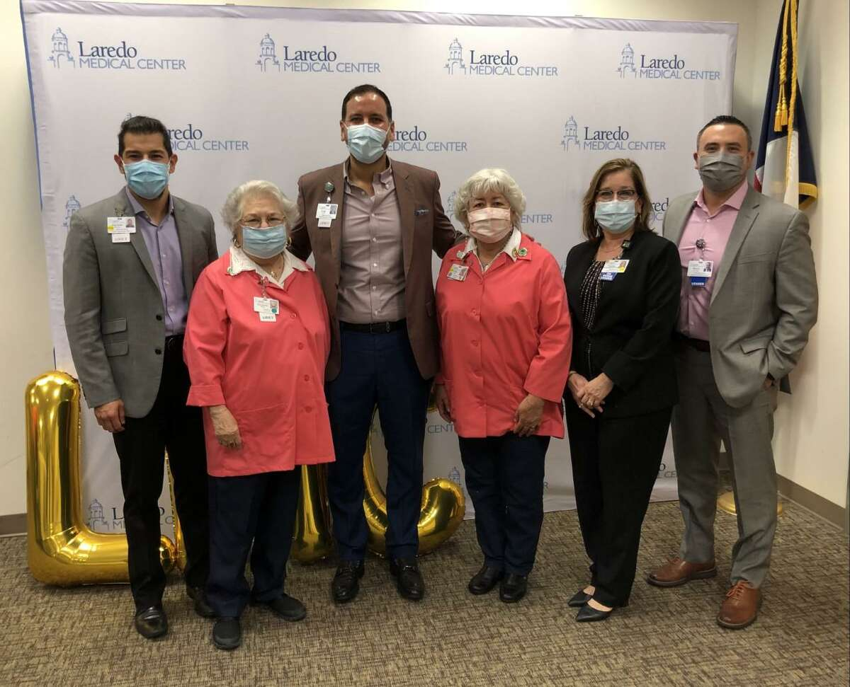 Pictured from left are Gerardo Ramos, Chief Operating Officer; Elizabeth A. Alford, Past President; Jorge Leal, Chief Executive Officer; Cecilia Lopez, Incoming President; Cynthia Puente, Chief Nursing Officer; and Marco Lozano, Assistant Administrator.