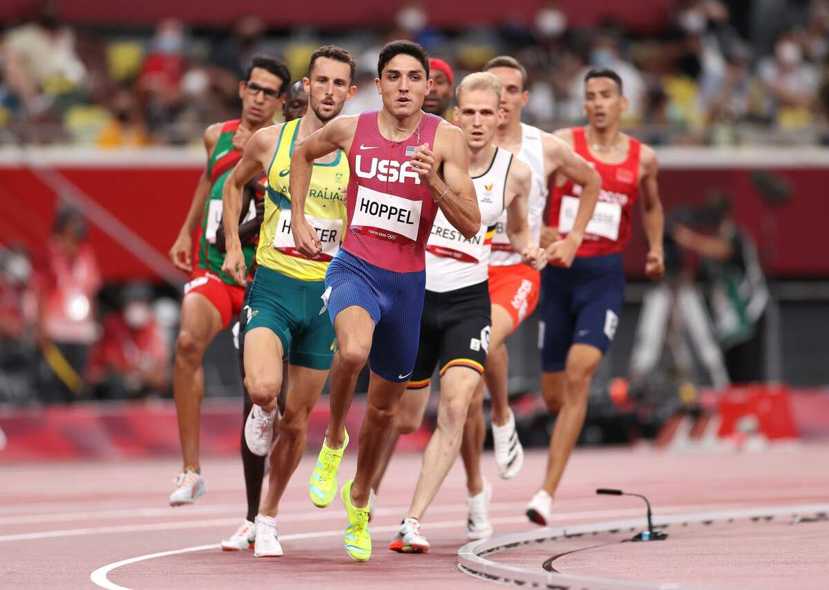 TOKYO, JAPAN - AUGUST 01: Bryce Hoppel of Team United States leads his Men's 800 Semi-Final field on day nine of the Tokyo 2020 Olympic Games at Olympic Stadium on August 01, 2021 in Tokyo, Japan. (Photo by David Ramos/Getty Images)