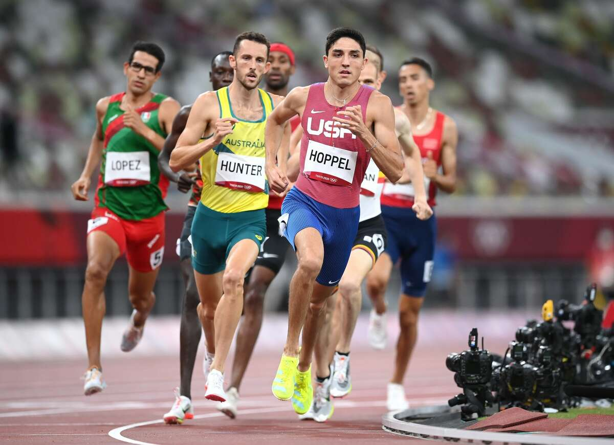 TOKYO, JAPAN - AUGUST 01: Bryce Hoppel of Team United States competes in the Men's 800m Semi-Final on day nine of the Tokyo 2020 Olympic Games at Olympic Stadium on August 01, 2021 in Tokyo, Japan. (Photo by Matthias Hangst/Getty Images)