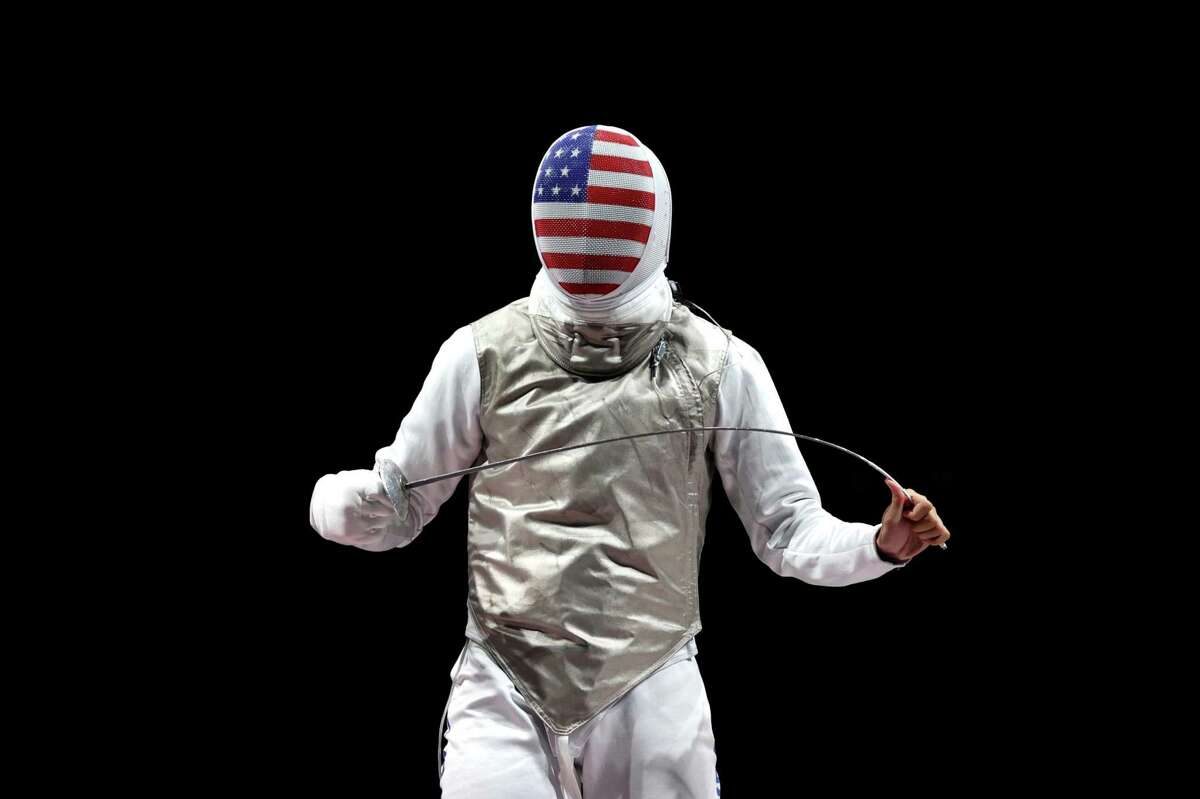 CHIBA, JAPAN - AUGUST 01: Alexander Massialas of Team United States looks on during the Men's Foil Team Fencing Bronze Medal Match against Takahiro Shikine of Team Japan on day nine of the Tokyo 2020 Olympic Games at Makuhari Messe Hall on August 01, 2021 in Chiba, Japan. (Photo by Elsa/Getty Images)