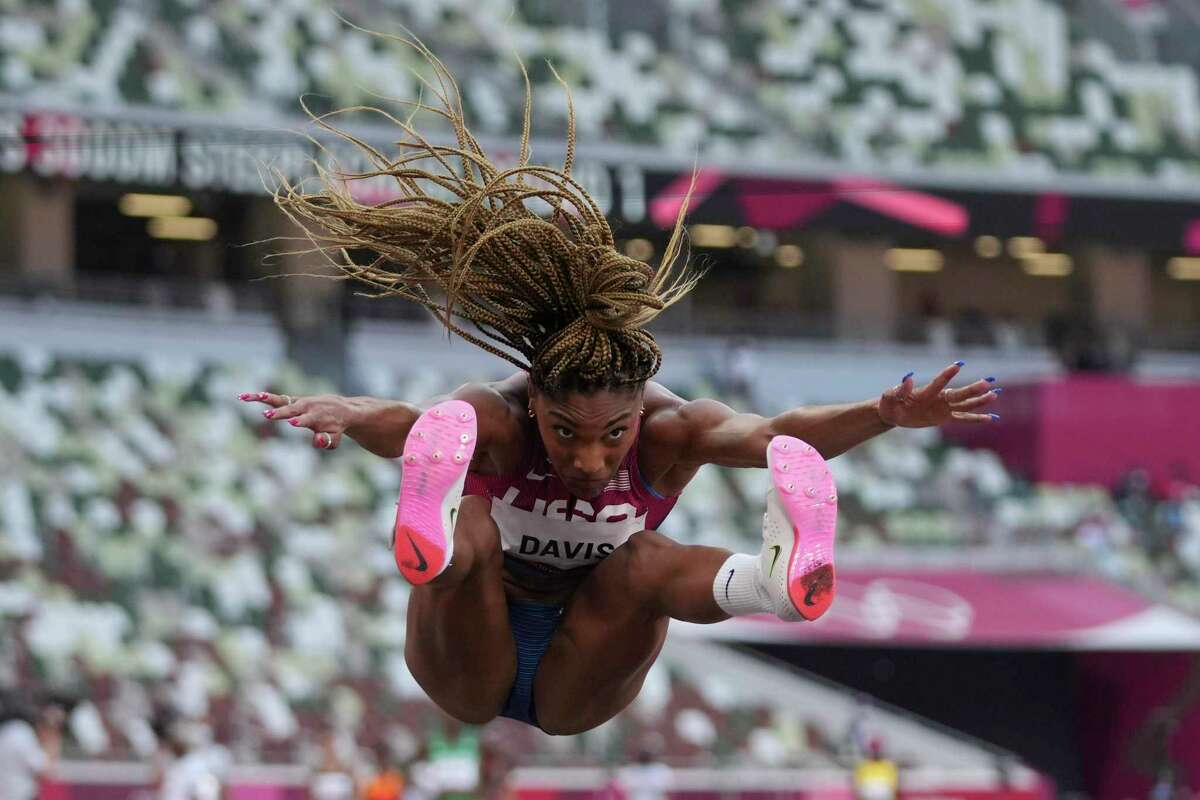 Tara Davis, of the United States, competes in the qualification rounds of the women's long jump at the 2020 Summer Olympics, Sunday, Aug. 1, 2021, in Tokyo.