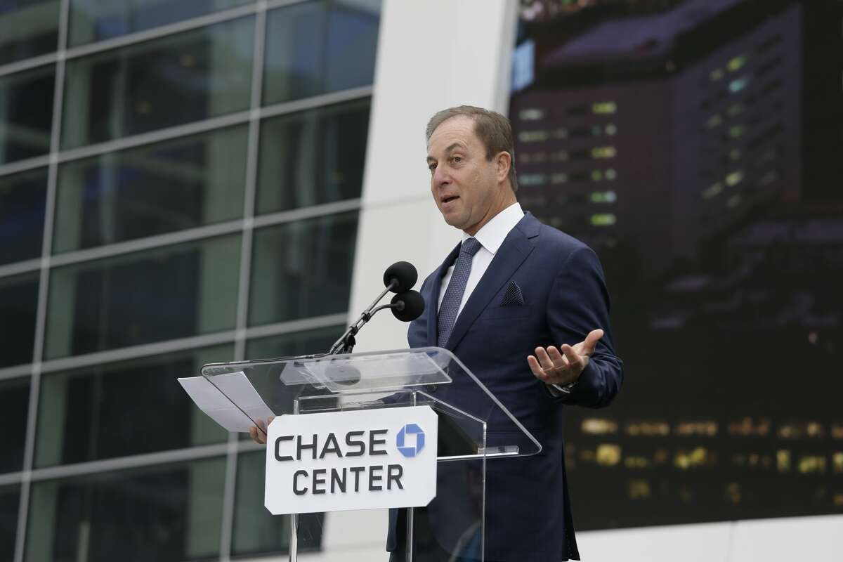 Golden State Warriors owner Joe Lacob speaks during the ribbon cutting ceremony of the Chase Center Tuesday, Sept. 3, 2019, in San Francisco.