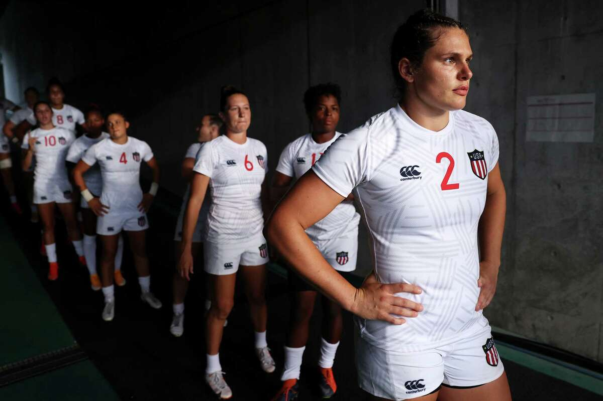 CHOFU, JAPAN - JULY 29: Ilona Maher of Team United States prepares to lead her team out onto the field for the Women's pool C match between Team United States and Team Japan during the Rugby Sevens on day six of the Tokyo 2020 Olympic Games at Tokyo Stadium on July 29, 2021 in Chofu, Tokyo, Japan.