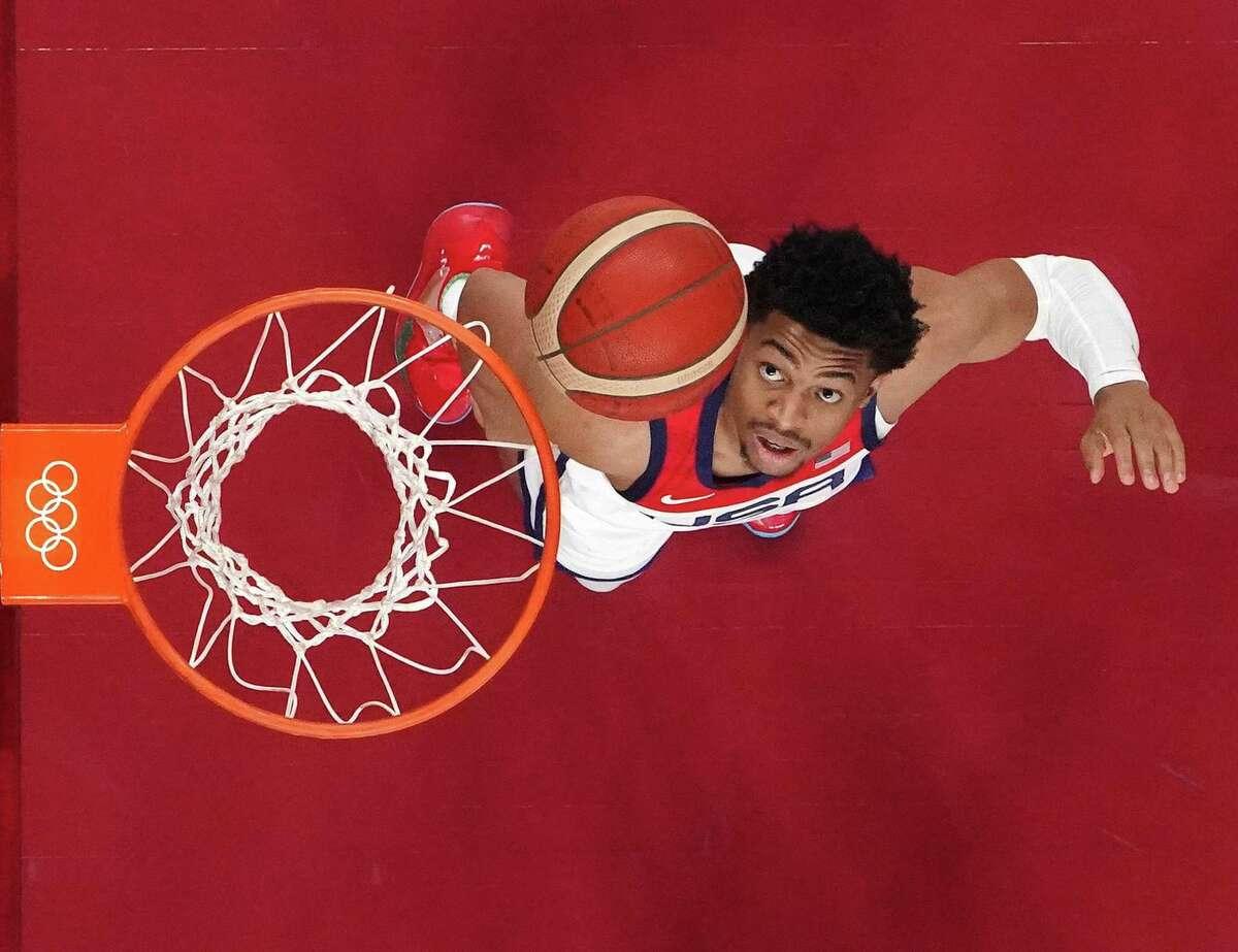Keldon Johnson is finding his place among the stars on the U.S. Olympic basketball team