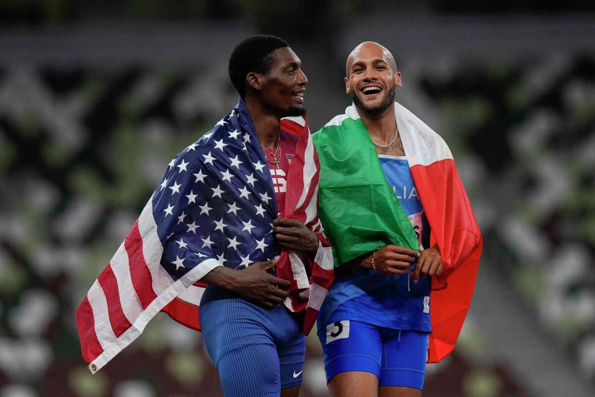 Lamont Jacobs and Fred Keley finished 1-2 in the men's 100 meters.