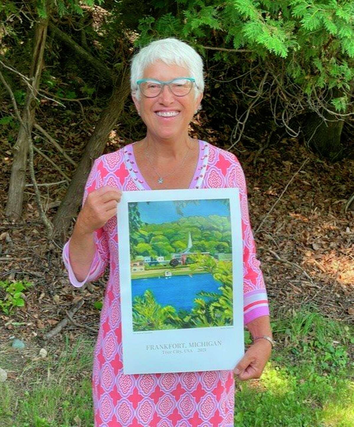 """Karen Williams' with her piece """"Heart of Frankfort,"""" which was chosen to be Frankfort's next Tree City poster. (Courtesy Photo)"""