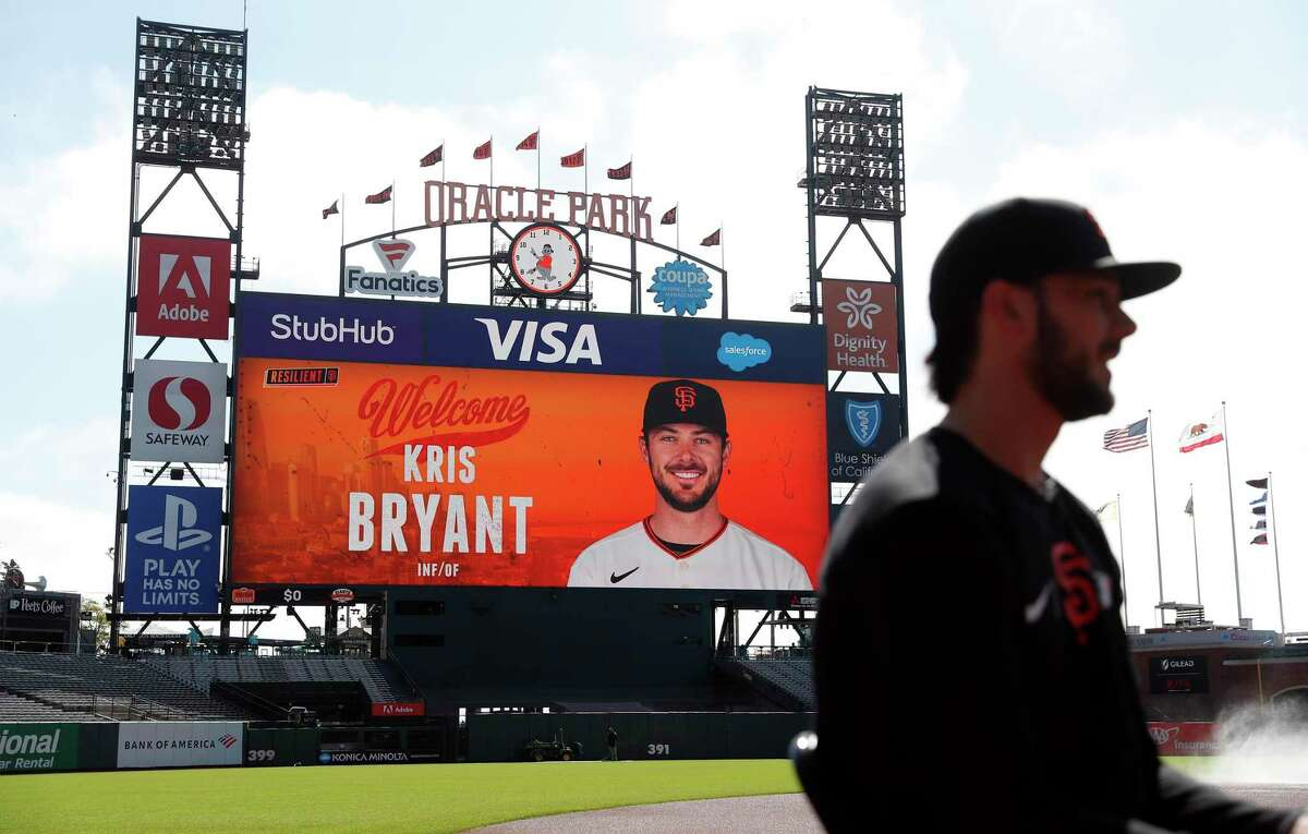 San Francisco Giants' Kris Bryant, recently acquired in a trade with the Chicago Cubs, is interviewed before his first game with the franchise at Oracle Park.