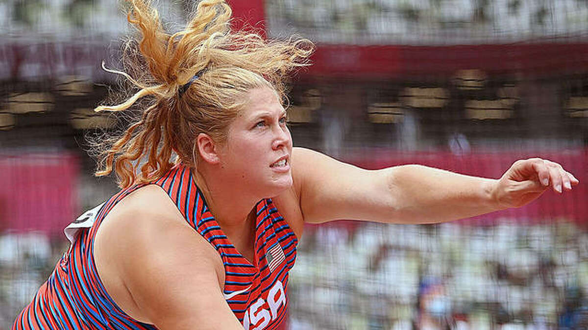 Kelsey Card watches the flight of the discus during one of her preliminary throws at the Tokyo Summer Olympics. A native of Carlinville in her second consecutive Olympics, Card did not advance to the finals.