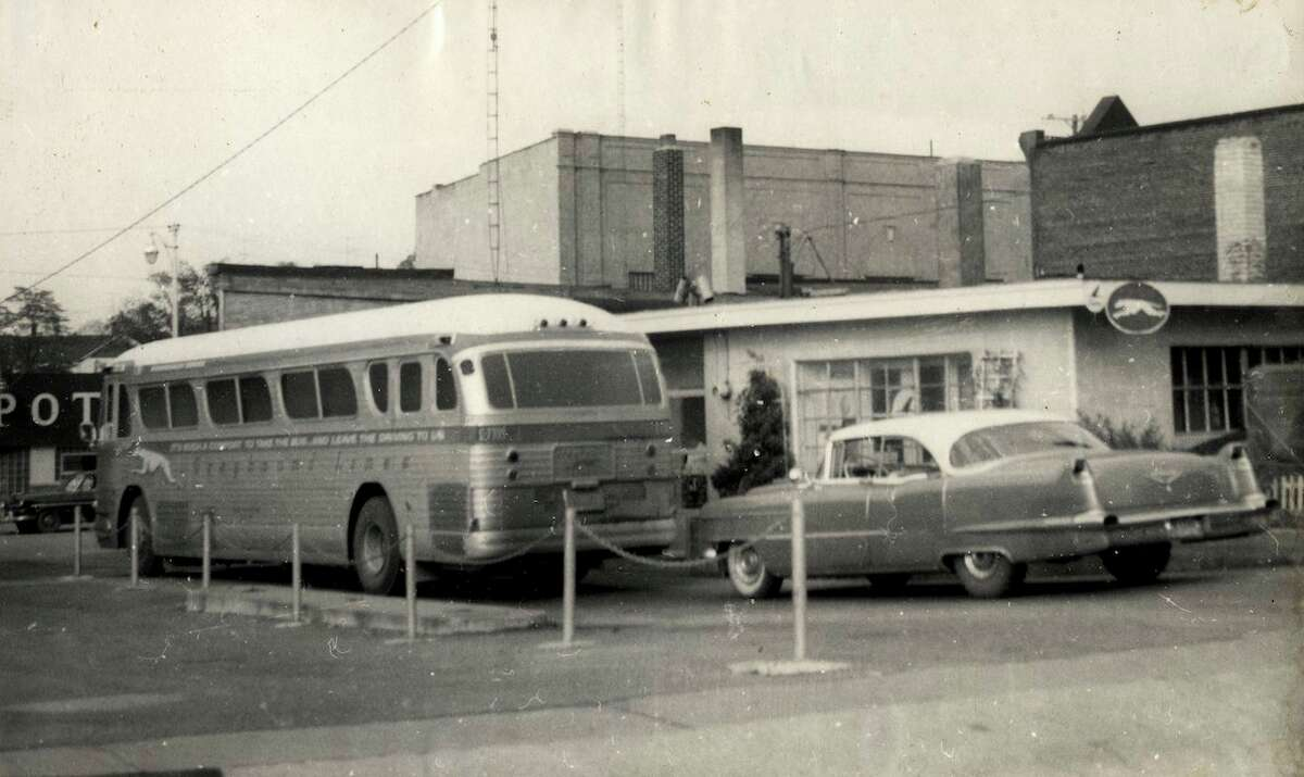 Pictured above is a Greyhound bus parked next to the Greyhound depot between Water and River Street in 1958. (Manistee County Historical Museum photo)