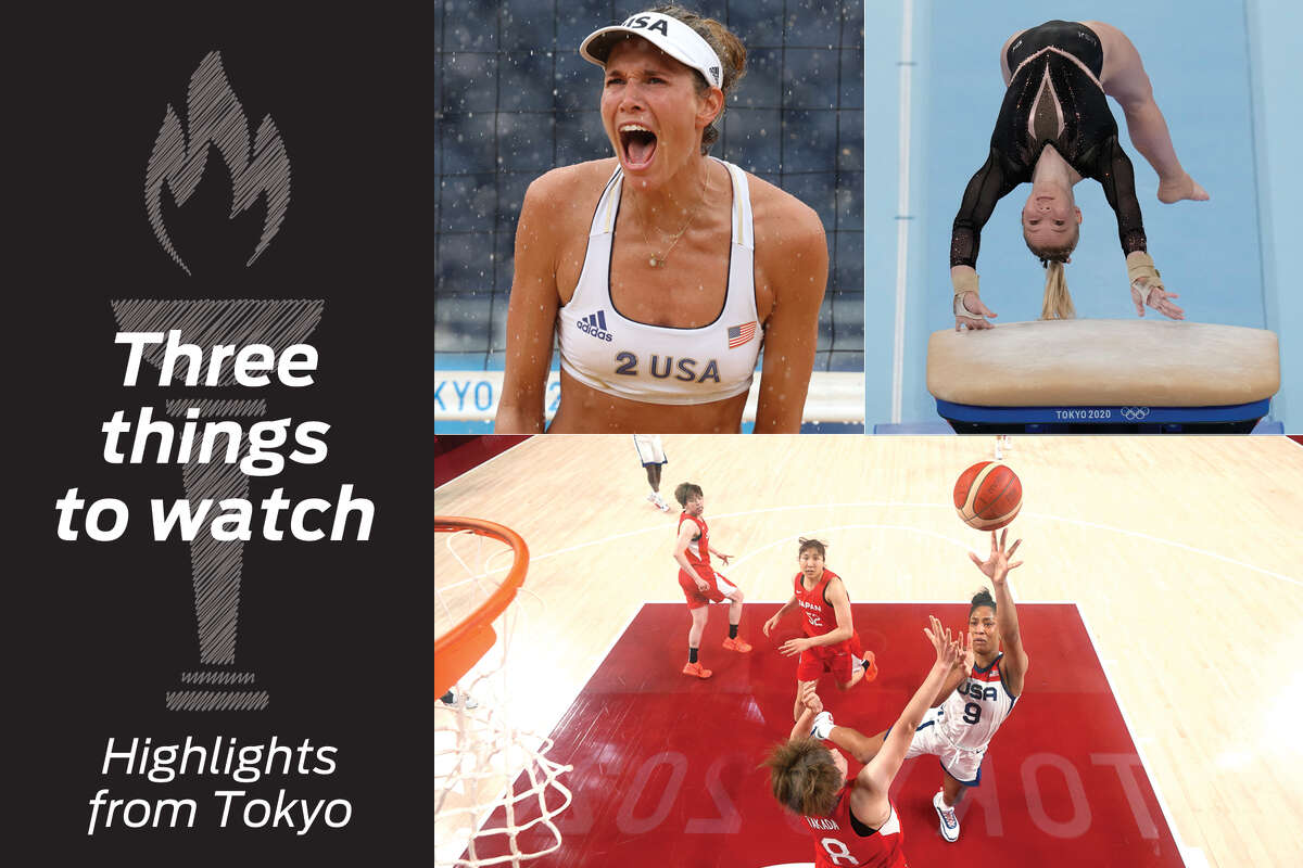 Clockwise, from top left: Alix Klineman, Jade Carey and A'ja Wilson highlight Olympic action.
